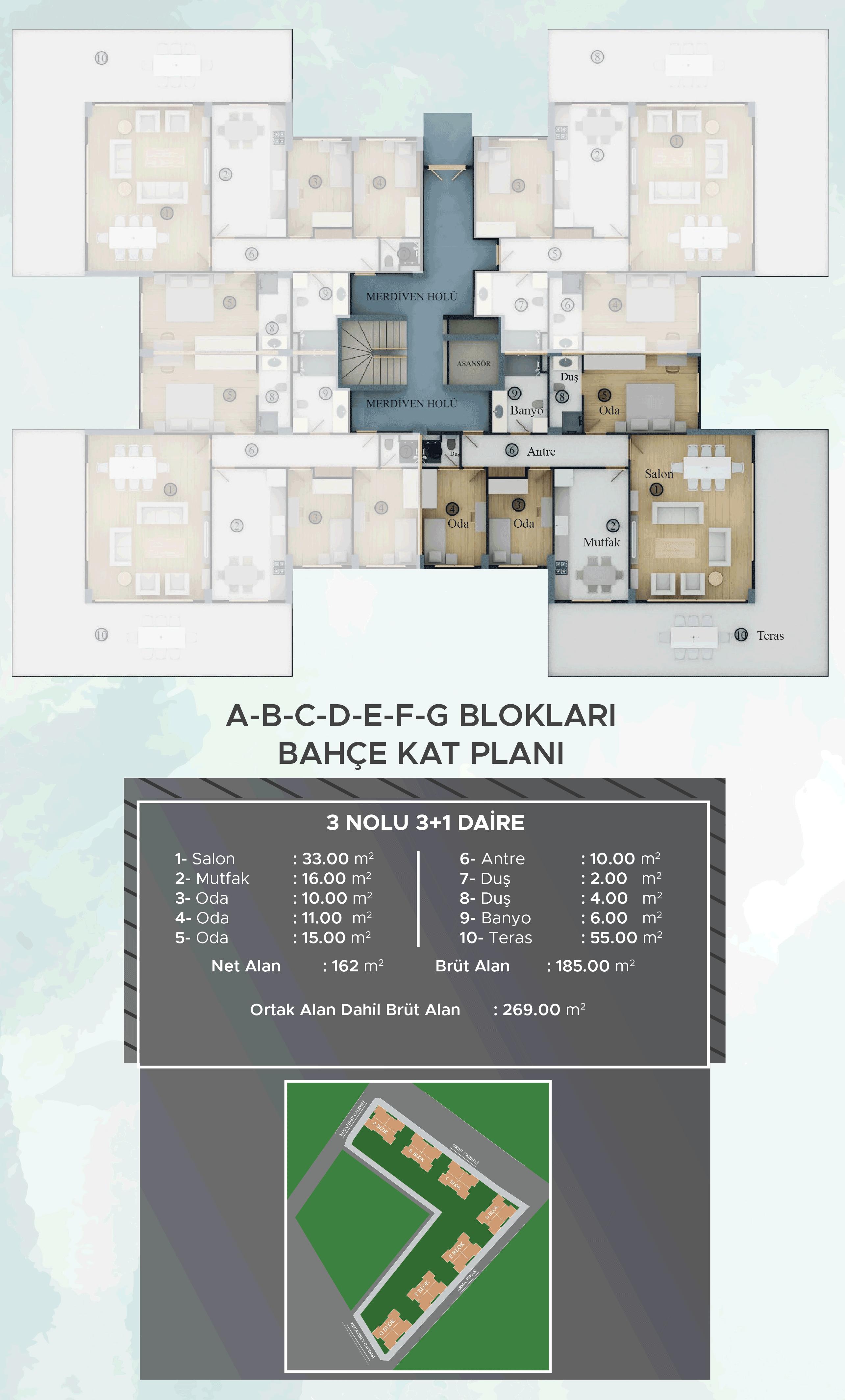 A-B-C-D-E-F-G Blokları Bahçe Kat Planları