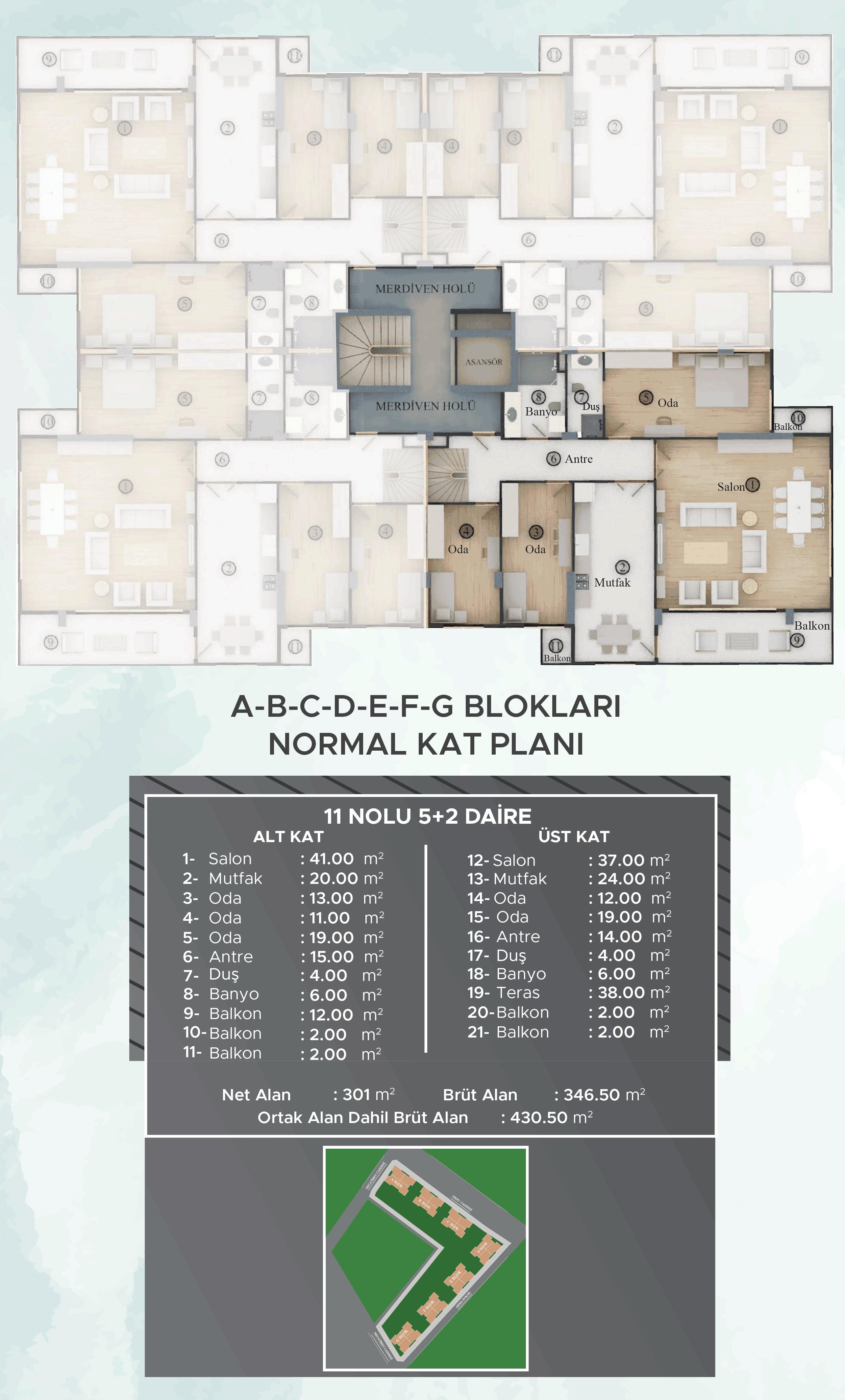 A-B-C-D-E-F-G Blokları Dubleks Normal Kat Planları