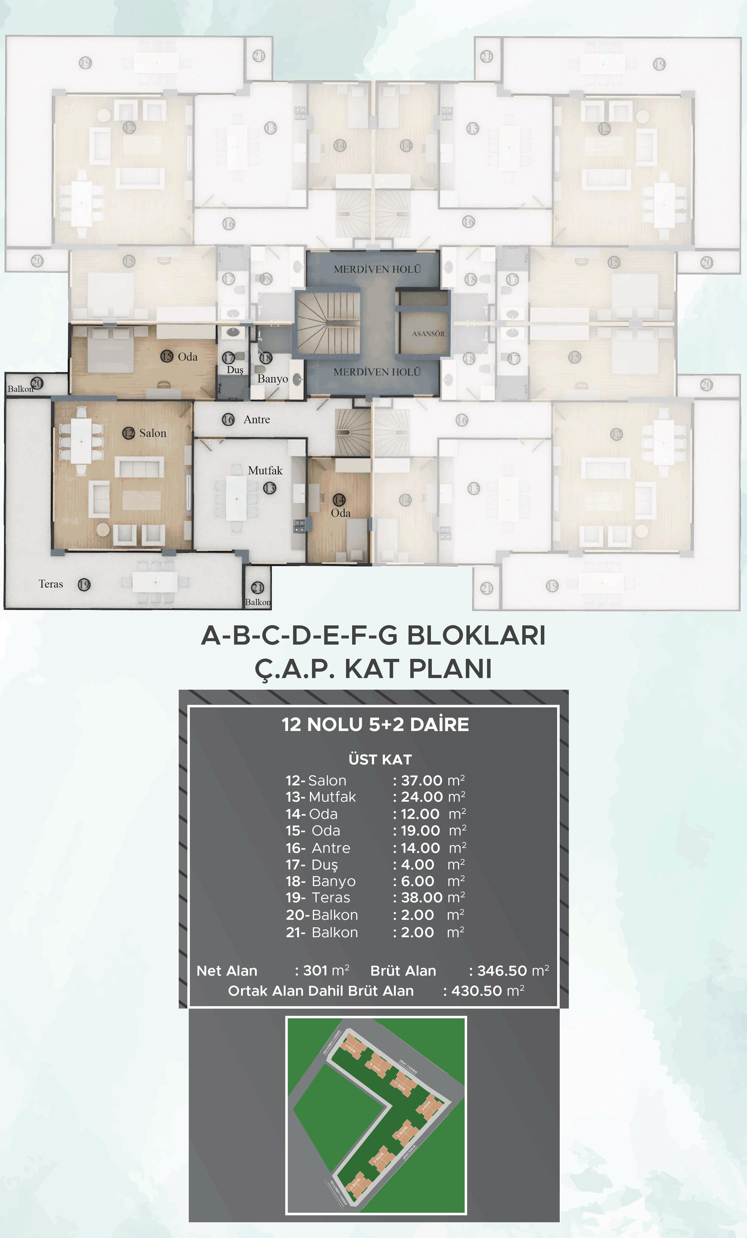 A-B-C-D-E-F-G Blokları Dubleks Ç.A.P. Kat Planları