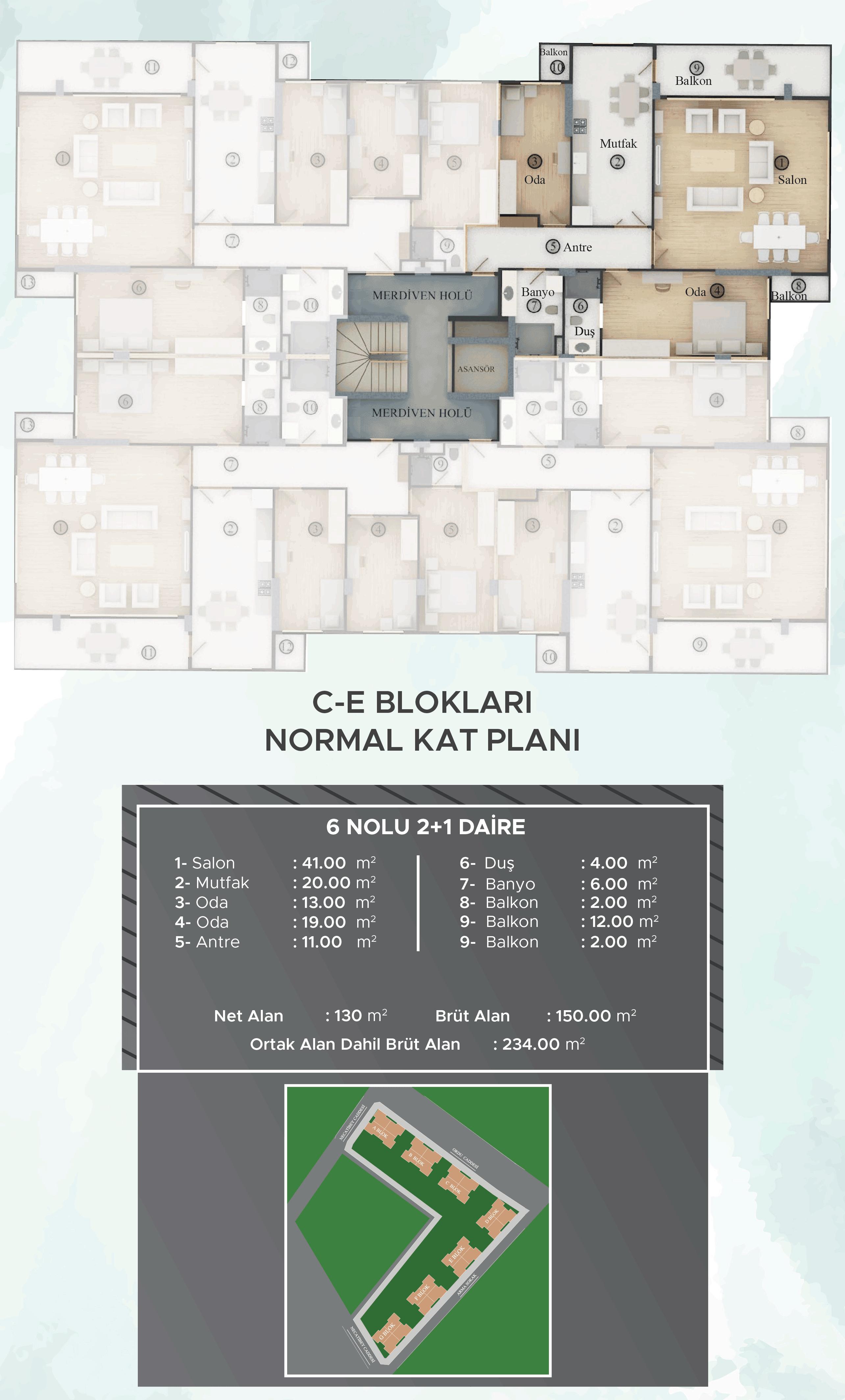 C-E Blokları Normal Kat Planları